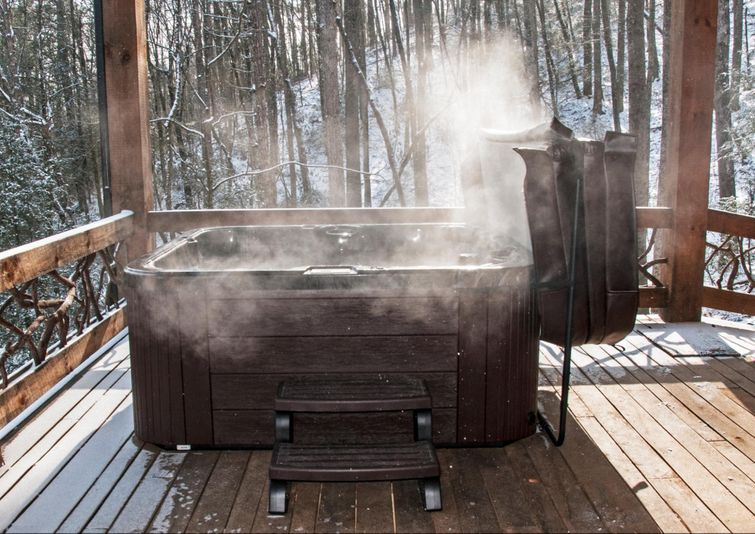 Hot tubs provide relaxation and warmth year-round.