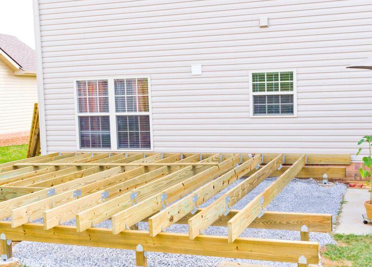 Deck construction under a permit.