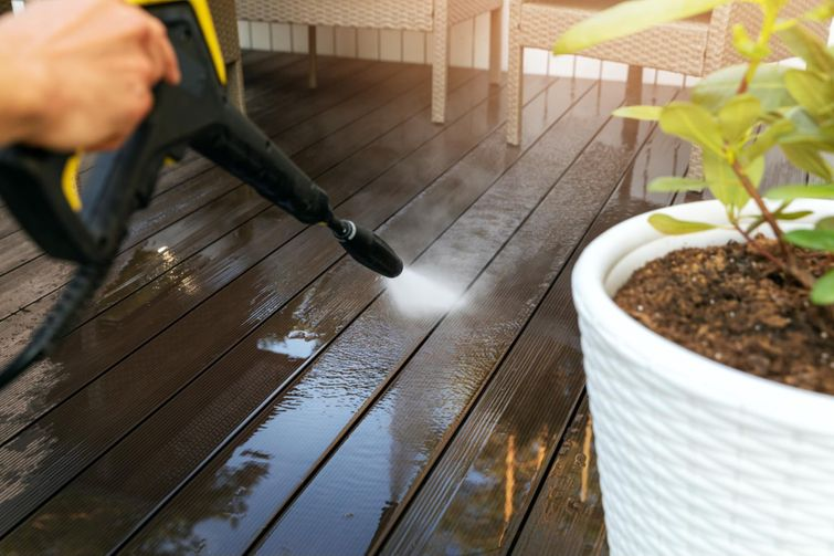 Use mild soap and water or low-pressure washing to remove stains.