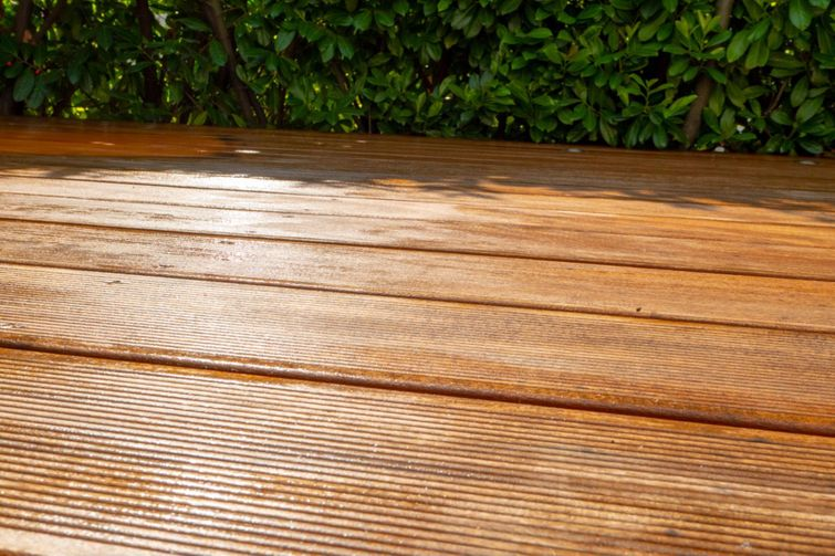 Freshly stained deck setting in the sun.