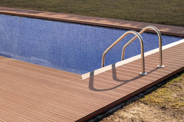 Use composite around pools with extra texture for the greatest safety.