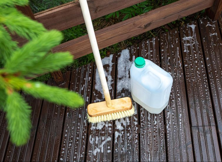 Use mould remover solutions to remove slippery build-ups.